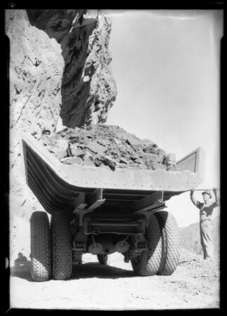 White trucks at Boulder Dam [Hoover Dam], NV, 1932