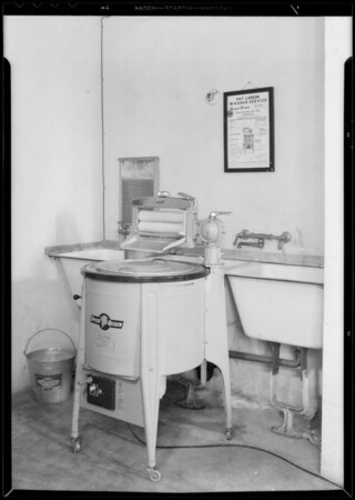 Washing machine, McAllister apartments, Southern California, 1933