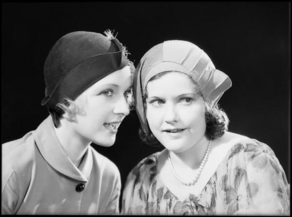 Two girls gossiping, Southern California, 1932