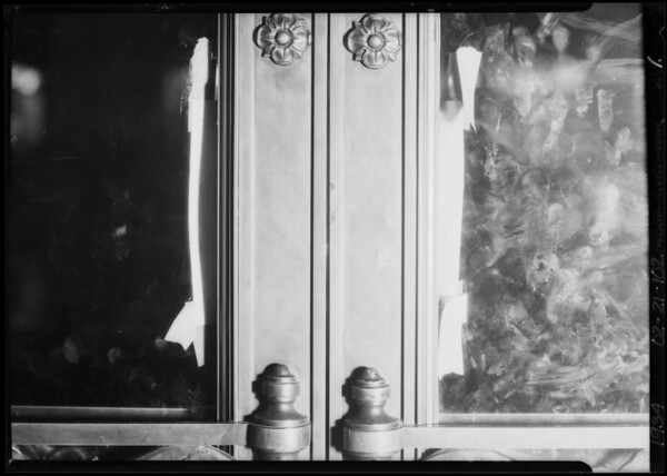 Blood stain on door of Pershing Square building, Los Angeles, CA, 1934