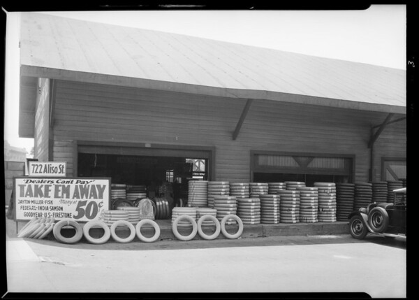 Tires, Railroad Warehouse, Southern California, 1931