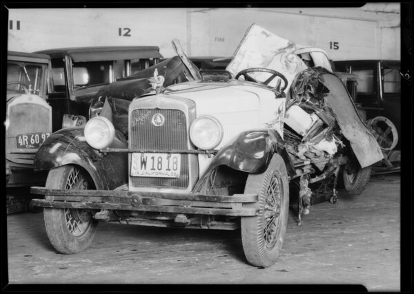 Wreck of car on Crenshaw Boulevard near 38th Street, Los Angeles, CA, 1932