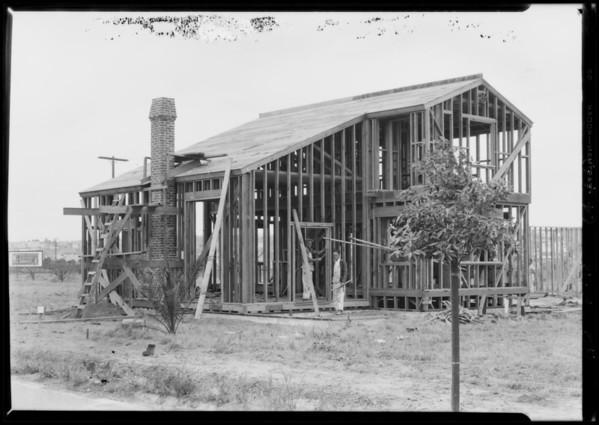 Leimert Park apartment houses under construction, Los Angeles, CA, 1928