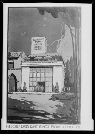 Drawing of restaurant at Leimert Park, Los Angeles, CA, 1928