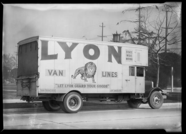 Lyon Storage Co. truck, Southern California, 1932
