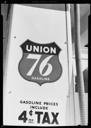 Decalcomania on 76 pumps, Southern California, 1933