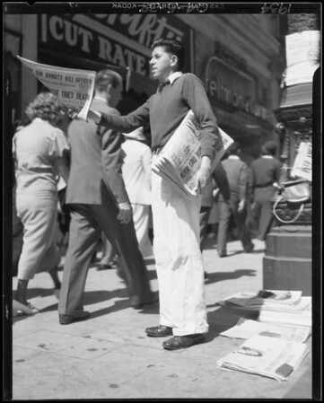 Newsboy, Southern California, 1934