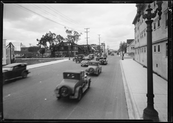 Intersection of West 8th Street and South Carondelet Street, Los Angeles, CA, 1932