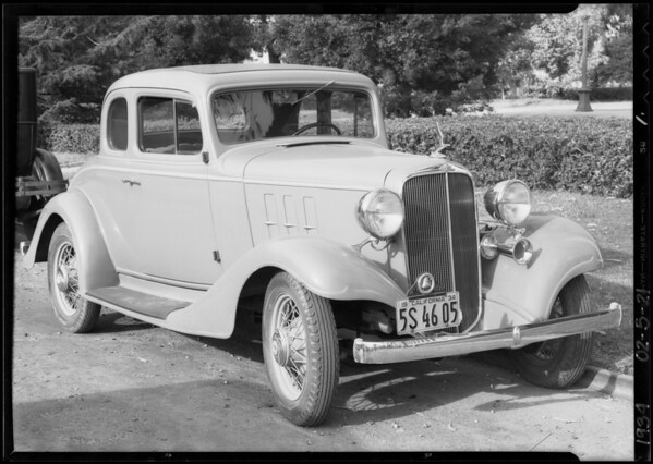 Chevrolet coupe, Elysabeth J. McCloy, owner and assured, Southern California, 1934