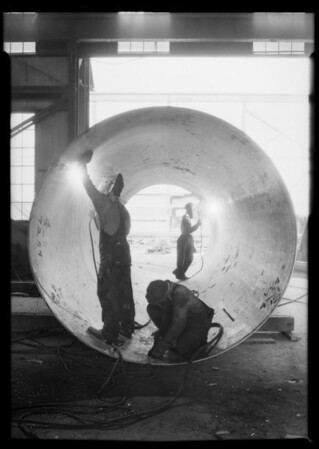 Welding steel pipe, Western Pipe and Steel, Southern California, 1933