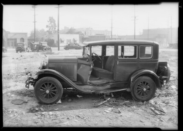 California tank line truck and intersection of East 6th Street & Mateo Street, Los Angeles, CA, 1933