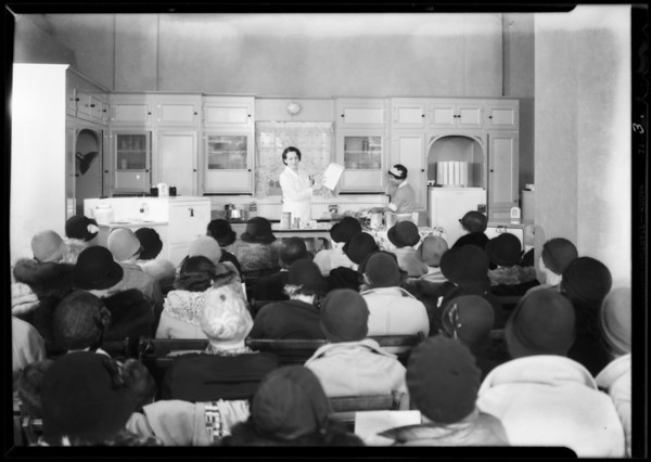 Cooking demonstration, Hollywood store, Southern California, 1932