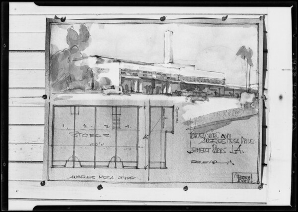 Washdrawing of new market on Angeles Mesa Drive, business center, Leimert Park, Southern California, 1928