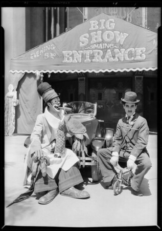 Pepito and Chaplin imitator at Grauman's Chinese, Southern California, 1928
