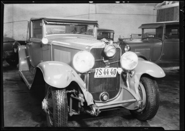 Cadillac convertible coupe, Russell Hoppon owner, at Cherokee Garage, Southern California, 1932