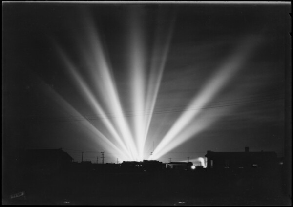 Searchlights at Manchester Square, Los Angeles, CA, 1926