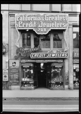 Royal Credit Jewelers, 708 South Hill Street, Los Angeles, CA, 1927