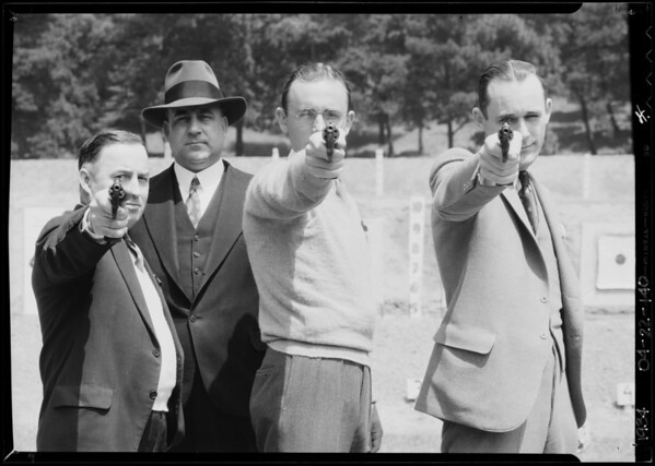 Chief Davis & winners of pistol shooting contest, Southern California, 1934