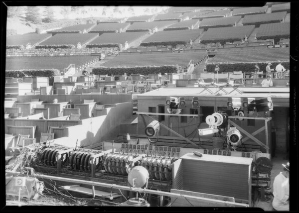 Lighting equipment at Hollywood Bowl, 2301 North Highland Avenue, Los Angeles, CA, 1934