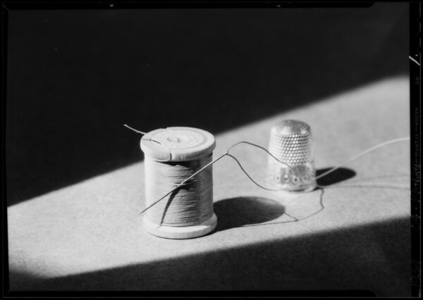 Shoes laces, paper pins & thread - peanuts, Southern California, 1934