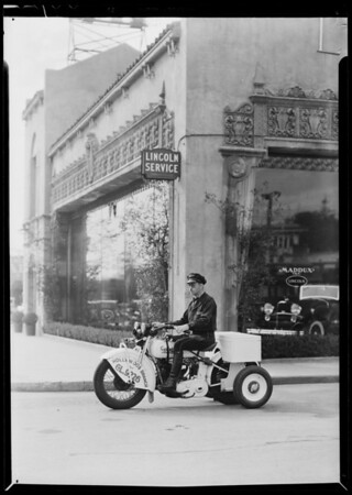 Service department, Cycletow service, Southern California, 1932
