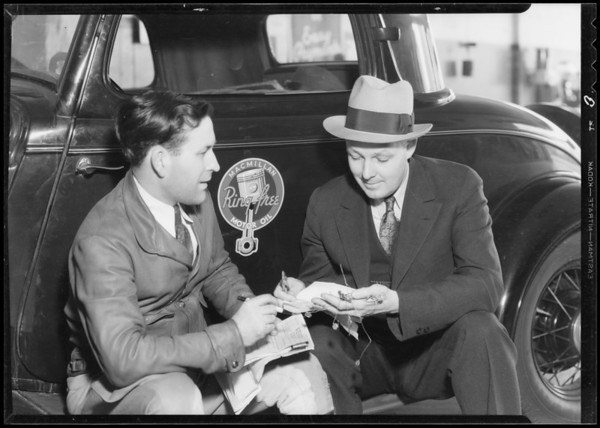 Ford economy run to Frisco with Mr. Hasset of Western Union, Southern California,  1933