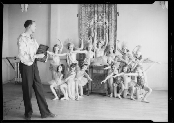 Children being taught at Ryan dancing academy, Southern California, 1933