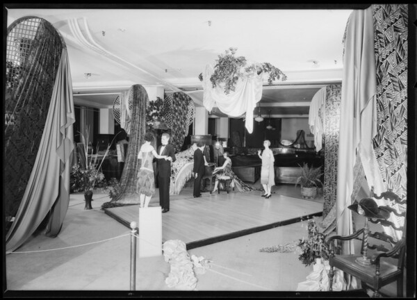 Display in silk department, Broadway Department Store, Los Angeles, CA, 1925