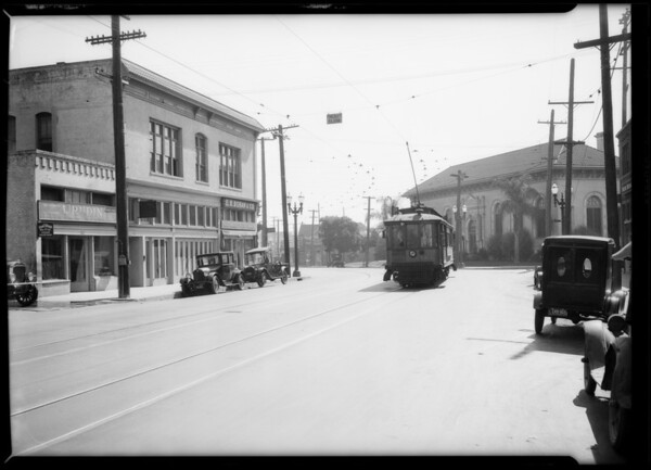 Street scenes at intersection of East 1st Street and North Chicago Street, Los Angeles, CA, 1927