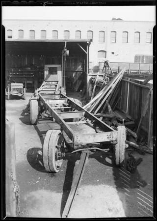 Truck trailer and car, Captain John Richardson, assured, Southern California, 1933
