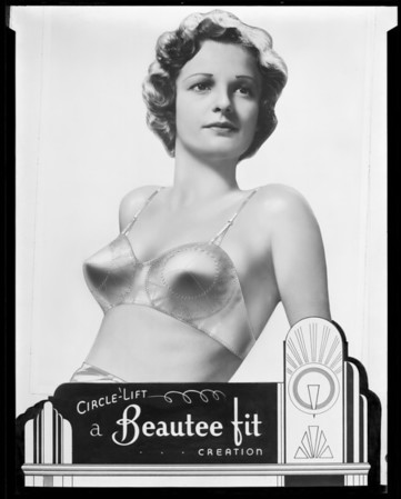 """Circle-Lift"" brassiere, Western Corset Company, Southern California, 1936"
