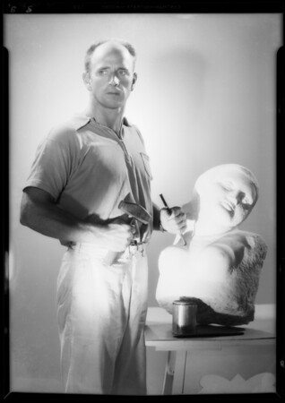 Sculptor and copies, Southern California, 1934