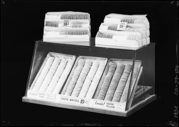 Creme wafer display case, Southern California, 1934