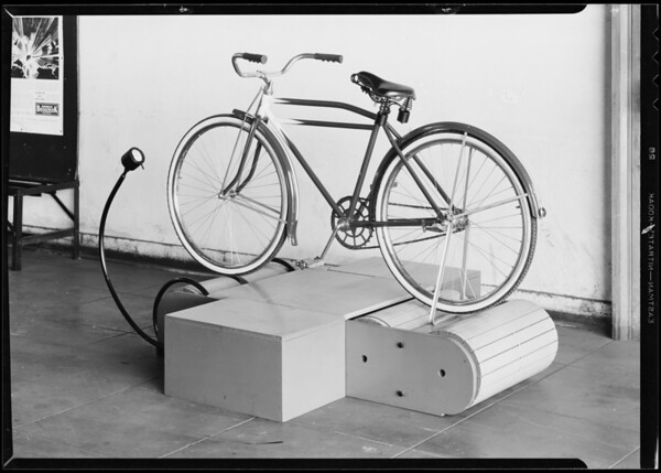 Bicycle on exerciser, Southern California, 1933