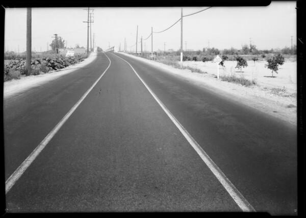 Scene of accident near Montebello on Telegraph Road, Adams vs. Warren, Southern California, 1934
