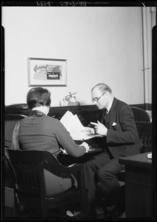 Sales manager sending telegram, Southern California, 1934