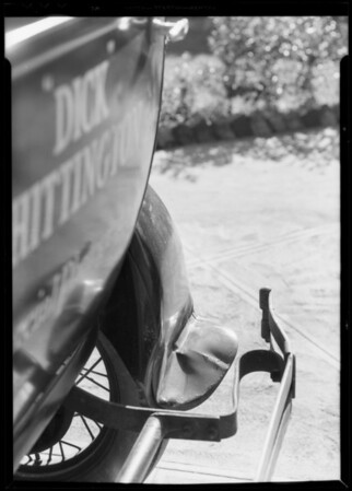 Bent fenders on delivery car, Southern California, 1933