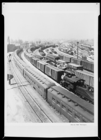 Composite of freight trains, Southern California, 1933