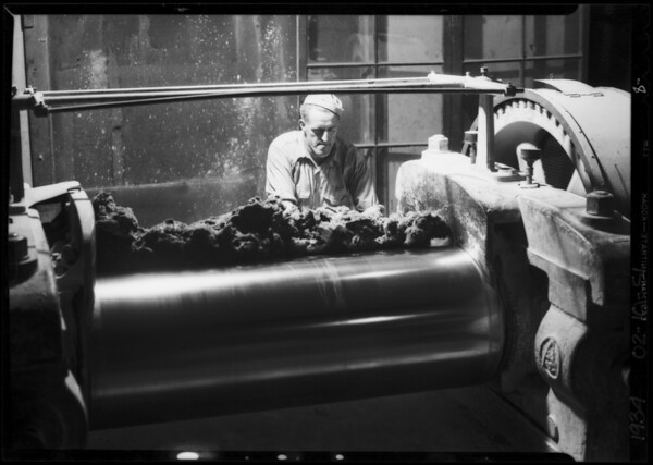 Man working on mill, Kirkhill Rubber Co., Southern California, 1934