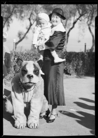 "Clara Kimball Young & Baby LeRoy with ""Bowzo the Dog"", Southern California, 1933"