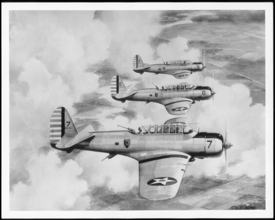 Drawings of planes in flight, Vultee Aircraft, Southern California, 1939