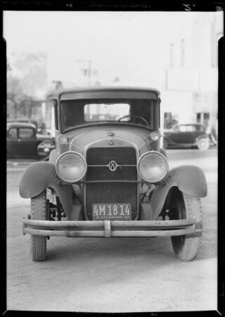 Studebaker sedan, assured Earl Dick, Southern California, 1934