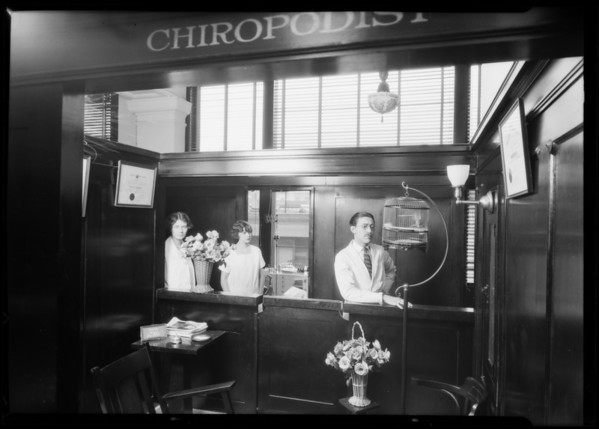 Dr. Hannock, chiropodist department, Broadway Department Store, Los Angeles, CA, 1925