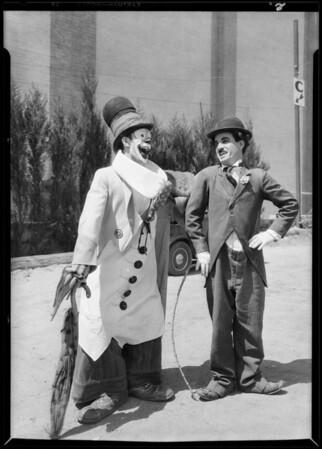 Pepito and Chaplin imitator at Grauman's Chinese, Southern California, 1928