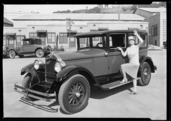 Laura La Plante and Hupmobile, Southern California, 1927