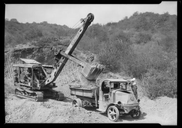 Steam shovel operating, Southern California