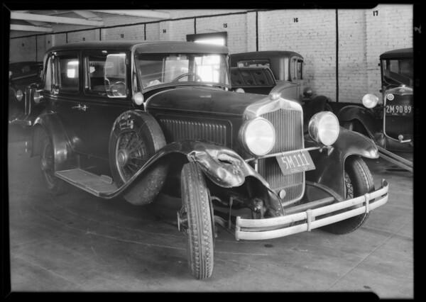 Dodge sedan, J.F. Shaffer, owner, at Forum garage, Southern California, 1931