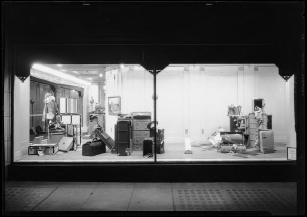 Luggage window, shoe, millinery, Southern California, 1927