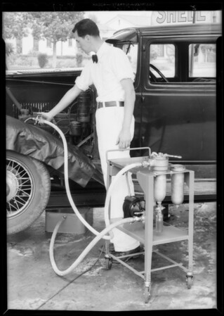 Oil flushing machine, Southern California, 1934