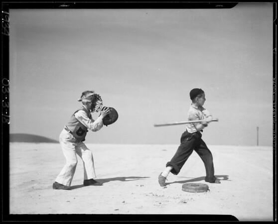 Boys, marbles and baseball, Southern California, 1934